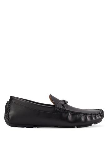 UniqTee black Faux Leather Twist Strap Loafers UN097SH78INHMY_1