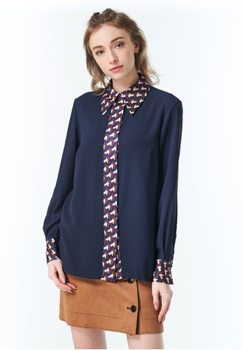 Sisley navy Shirt with Clashing Detail 7BE2CAAE124B11GS_1