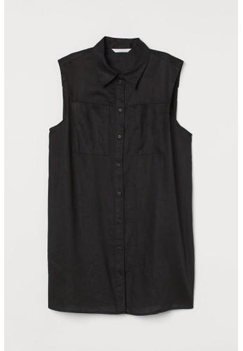 H&M black Sleeveless linen blouse C7C6CAA0C3FDD8GS_1