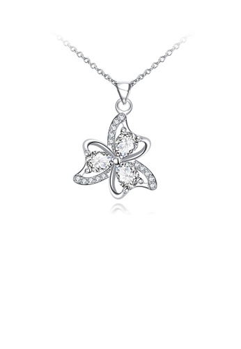 Glamorousky white Fashion and Elegant Three-leafed Clover Pendant with White Cubic Zircon and Necklace ACCA6AC233330BGS_1