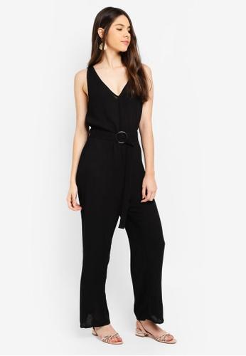 c2b7d3c6365 Cotton On black Woven Bobbie Strappy Wide Leg Jumpsuit 79E20AAC35CF7BGS 1