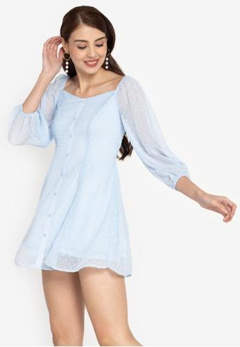ZALORA BASICS blue Swiss Dot Puff Sleeve Button Down Dress 645FCAA5F240C7GS_1