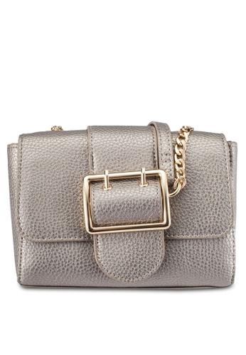 Dorothy Perkins grey Metallic Buckle Crossbody Bag DO816AC0S0A1MY_1