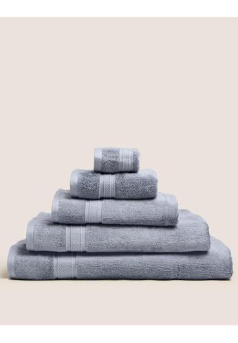 MARKS & SPENCER blue M&S Cotton Bamboo Bath Towel 7E59BHL8FD1F68GS_1
