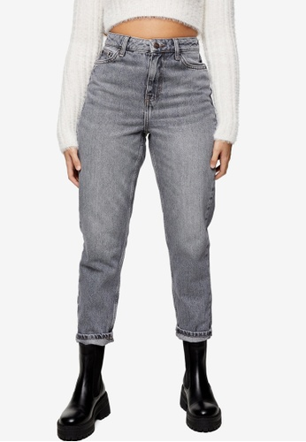 TOPSHOP grey PETITE Grey Mom Tapered Jeans CFD7CAA0553EE3GS_1