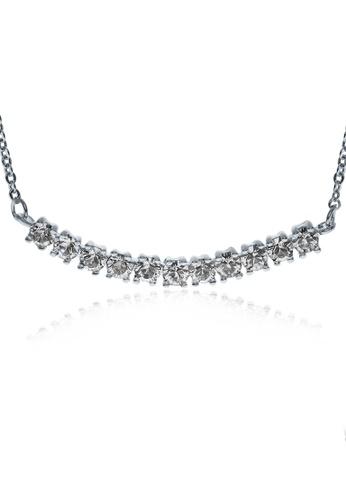 Alfredulla white Bentbar Silver Crystal Necklace 801C6AC3FF4648GS_1