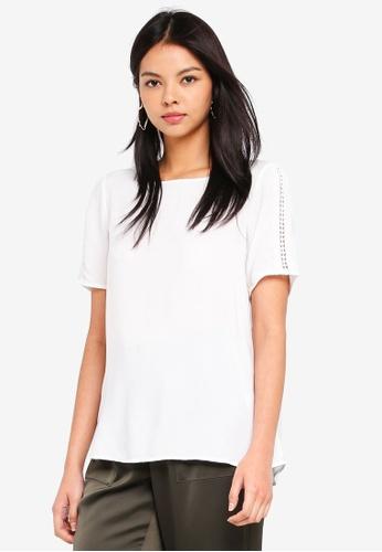 Vero Moda white Lacey Boca 2/4 Top 23FFAAAB5CAF4AGS_1