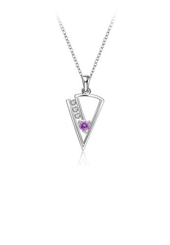 Glamorousky white Fashion Simple Geometric Triangle Pendant with Purple Cubic Zirconia and Necklace CC6B0AC3EAB01DGS_1