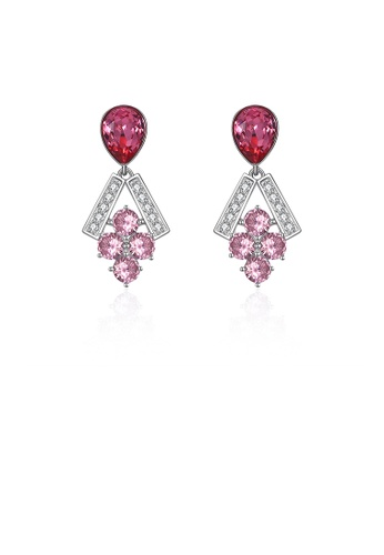 Glamorousky pink 925 Sterling Silver Sparkling Elegant Fashion Grapes Earrings with Pink Austrian Element Crystal 970F9AC55B1385GS_1