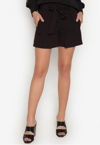 Dorothy Perkins black Black Tie Shorts DO101AA0JWAQPH_1