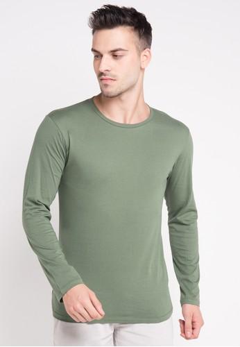 Tolliver green Basic Long Sleeve Tee 202EAAA0E04E7BGS_1