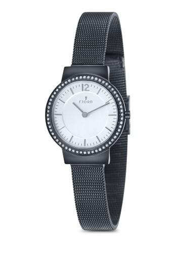 ELINA 金屬網眼水鑽圓錶, 錶類, esprit outlet 香港飾品配件