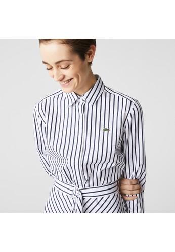 Lacoste blue Women's Buttoned Striped Poplin Shirt Dress A3A0CAAC8776D7GS_1
