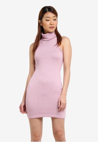 Something Borrowed purple Rolled Neck Cut-in Bodycon Dress 62572AA84CD242GS_1