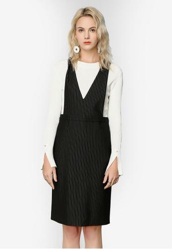 Hopeshow black Striped Pinafore Dress FF5E6AA1E18B2FGS_1