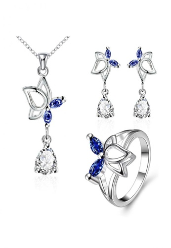 Treasure by B & D gold S016-A Silver Plated European Fashion Elegant Buttefly with Stone Jewellery Set TR022AC71VBKPH_1