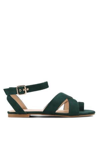 ZALORA green Cross Strap Sandals 916F0SH1CAF5CBGS_1