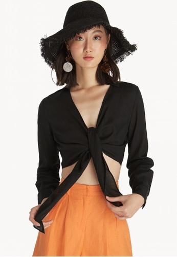 ac915ec64a0dac Shop Pomelo Tie Front Crop Top - Black Online on ZALORA Philippines