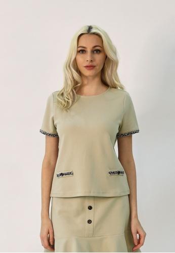 Cheetah beige C.Union Short Sleeve Top - CUL-90922 4AC76AA1DB5859GS_1