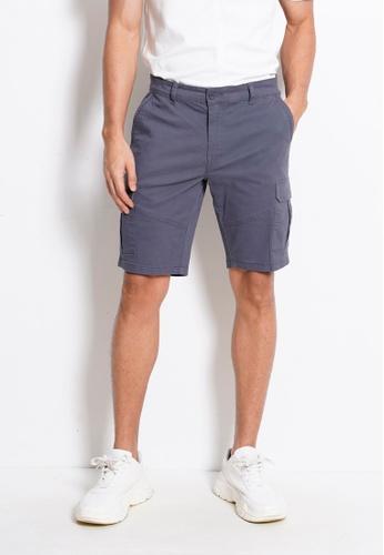 Hi Style grey Cotton Cargo Short Pants 91C7CAAAF3046DGS_1
