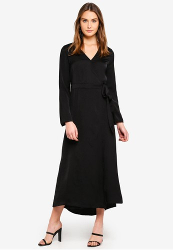 Cotton On black Woven Satin Maxi Dress 4A4F8AA95D08A7GS_1