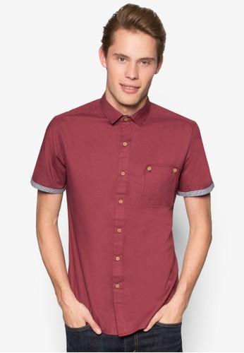 拼布口袋貼esprit 香港 outlet身短袖襯衫, 服飾, 襯衫