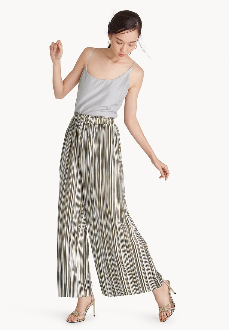 Striped Olive Wide Pomelo Pants Leg Pleat Olive 6dxRwqPTR