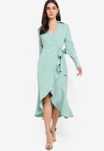 Lavish Alice green Frill Hem Wrap Front Shirt Dress 23A4FAAC716F2BGS_1