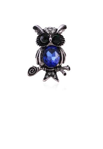 Glamorousky blue Fashion Cute Owl Brooch with Blue Cubic Zirconia B50ECACE34BAA3GS_1