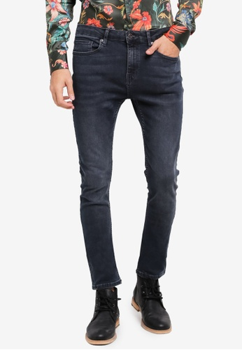 Topman 藍色 Navy Overdyed Spray On Jeans TO413AA0SR8ZMY_1