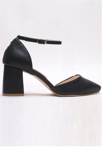 Crystal Korea Fashion black South Korea Made Wild Pointed Sharp Thick Heel Shoes 382CFSHEDBEFF8GS_1