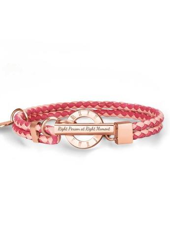 Crudo Leather Craft pink La Memoria Double Woven Leather Bracelet - Scarlet (Rose Gold Edition) C7F8AACBF94664GS_1