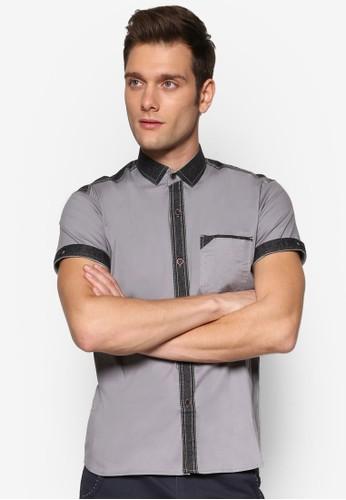 對比色滾邊休閒短袖襯衫, 服飾,esprit 會員 襯衫