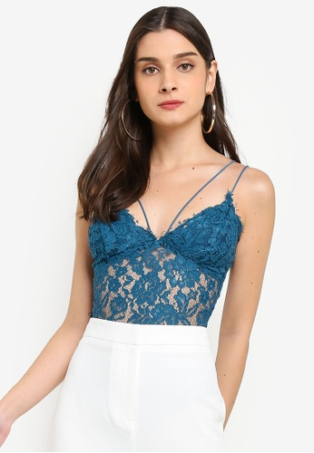 MISSGUIDED green and blue Corded Lace Bodysuit Top EE22EAADB70FA4GS_1