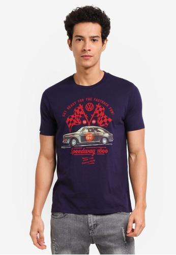 Volkswagen 藍色 Volkswagen休閒印花T恤 EAE01AA7532A46GS_1