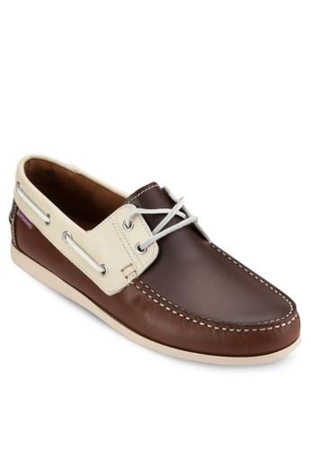 對比色拼接皮esprit暢貨中心革船型鞋, 鞋, 鞋