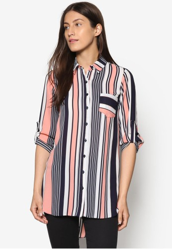 條紋長版esprit衣服目錄七分袖襯衫, 服飾, 上衣