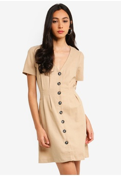 70296d41d8 Miss Selfridge beige Stone Linen Tea Dress 11361AAEFD578DGS 1