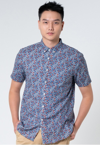 Private Stitch blue and navy Private Stitch Men Casual Short Sleeve Regular Fit Cotton Floral Shirt DEE11AA55EE078GS_1