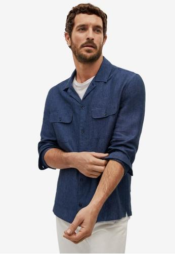 MANGO Man blue Regular Fit Linen Bowling Shirt 4C2E3AA85845BDGS_1