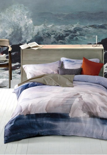 MOCOF grey and pink and blue and multi Bedsheet Tencel Printed TASMAN Duvet Cover Set 1200TC A5147HL54C1515GS_1