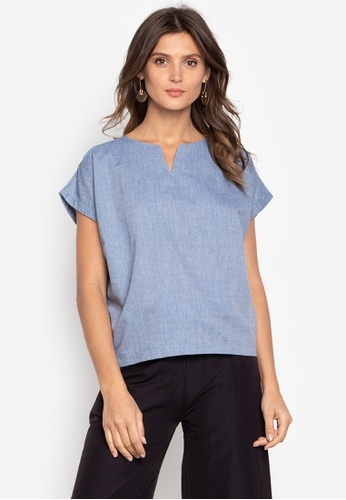 Courier blue Chambray Vneck-Short Sleeves Blouse FADCBAA0DCCA0EGS_1