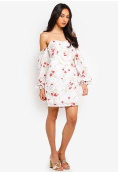 d0125ae50bc 45% OFF MISSGUIDED Floral Bardot Balloon Sleeve Mini Dress RM 149.00 NOW RM  81.90 Sizes 6 8 10 12 14