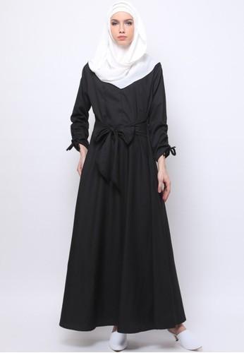 JV Hasanah black Taniya Ribbon Dress  5AA9AAAB7AB705GS_1
