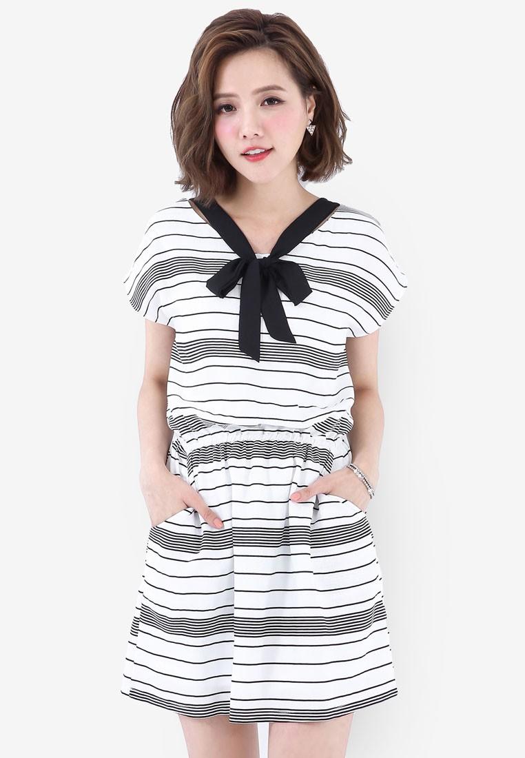 Dress with Contrast Tie Neck