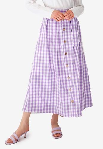 Trendyol purple Checkered Maxi Skirt 3FA58AA4A714EDGS_1