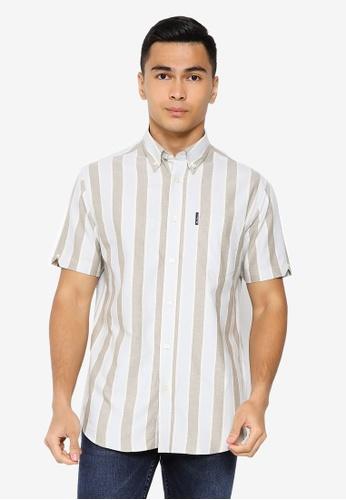 Ben Sherman green Block Striped Shirt 4ED75AA6A5A6BFGS_1