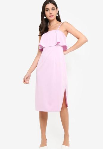 ZALORA 紫色 Tiered Strappy Midi Sheath Dress D2735AA3F5641DGS_1