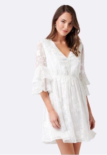 Forever New white Angel Tiered Embroidered Dress 0C780AA9963C8BGS_1