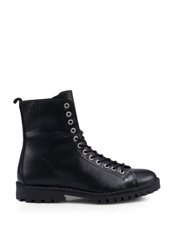 Selected Homme black Leather Hiking Boots E53EBSHD6E65E6GS_1